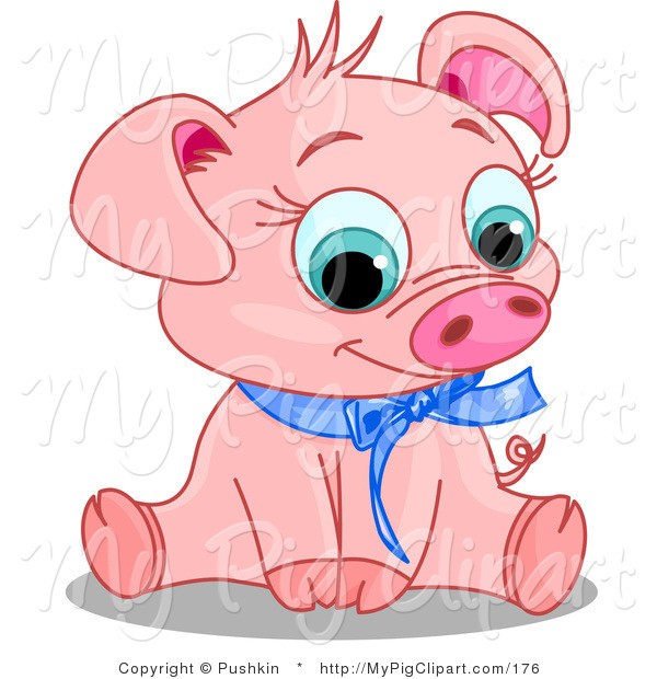 Swine Clipart of an Adorable Pink Male Pig Wearing a Blue Ribbon Collar, Sitting and Smiling
