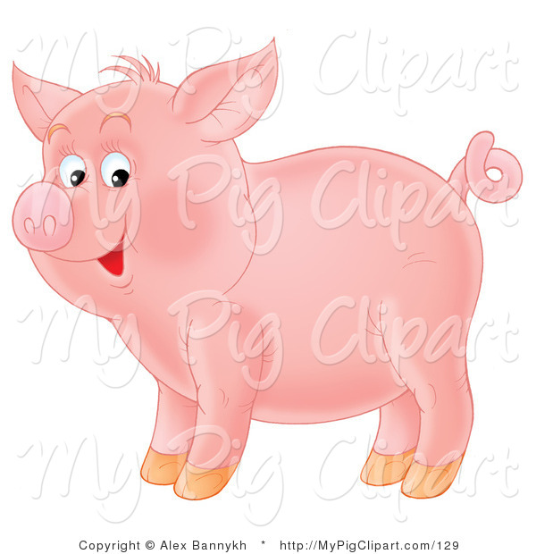 Swine Clipart of an Adorable Smiling Pink Pig with a Curly Tail, Standing in Profile