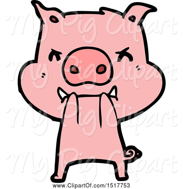 Swine Clipart of Angry Pig