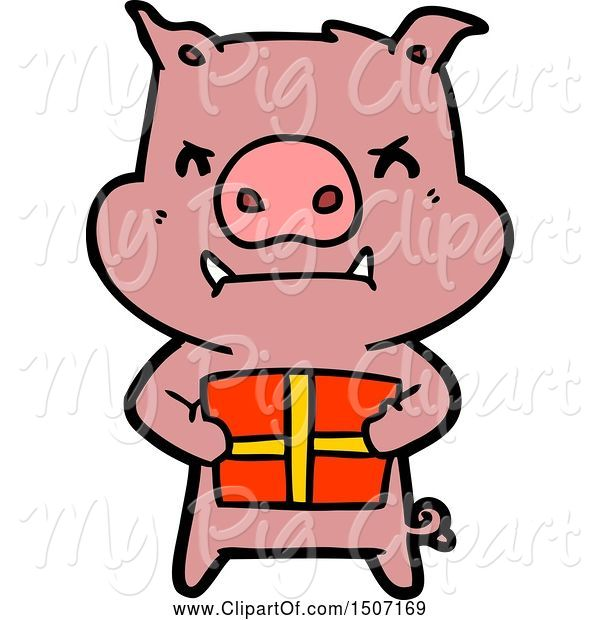 Swine Clipart of Angry Pig with Christmas Gift