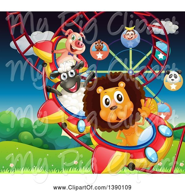 Swine Clipart of Animals Riding a Roller Coaster