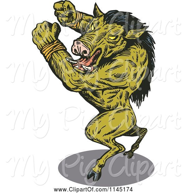 Swine Clipart of Attacking Green Wild Boar Guy