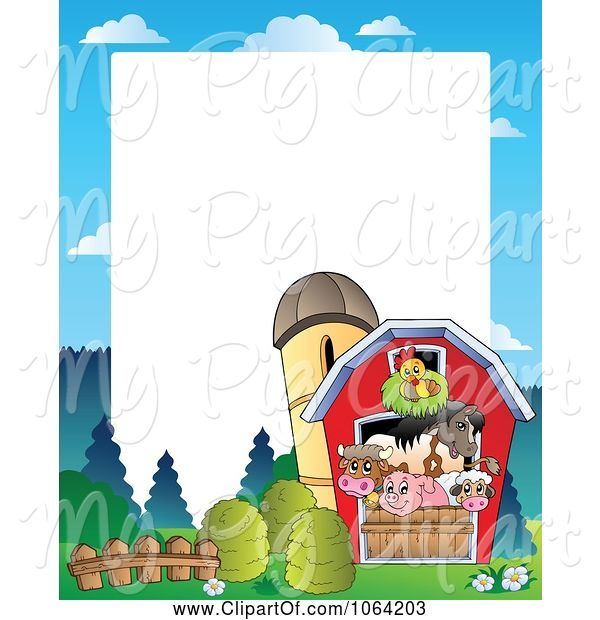 Swine Clipart of Barnyard Animal Frame 2