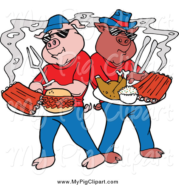 Swine Clipart of Bbq Pigs with Ribs Pulled Pork Burgers and Poultry on Plates