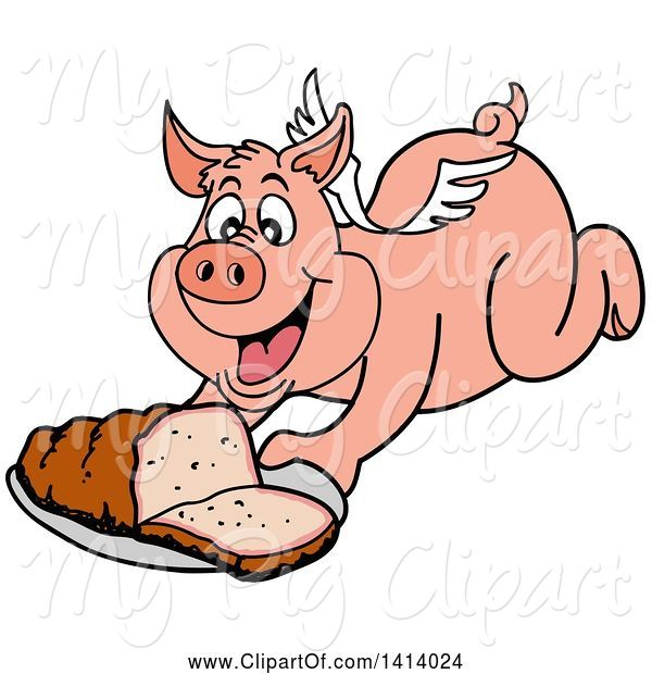 Swine Clipart of Bbq Winged Pig Flying and Holding out a Brisket
