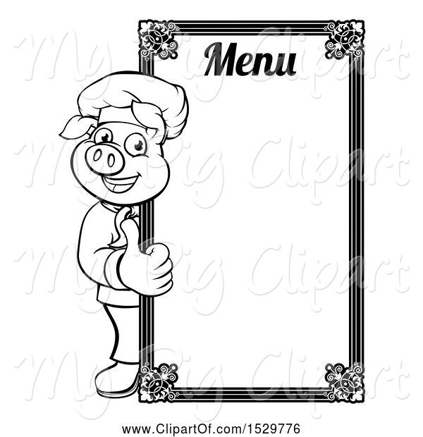 Swine Clipart of Black and White Chef Pig Giving a Thumb up Around a Menu Board