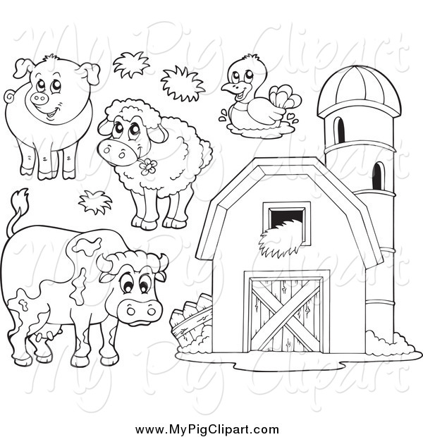 Swine Clipart Of Black And White Farm Animals A Barn With Granary
