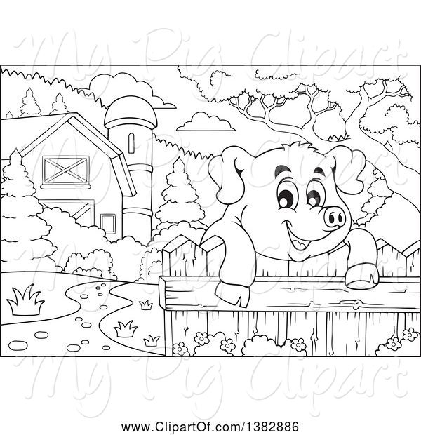 Swine Clipart of Black and White Lineart Happy Pig Looking over a Fence in a Barnyard