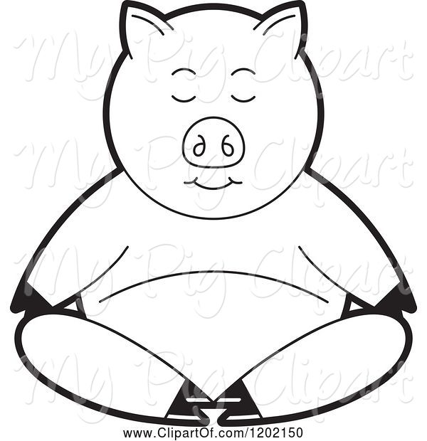 Swine Clipart of Black and White Pig Meditating