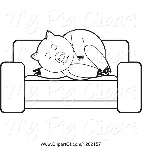 Swine Clipart of Black and White Pig Sleeping on a Sofa