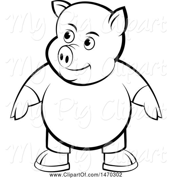 Swine Clipart of Black and White Pig Wearing Clothes