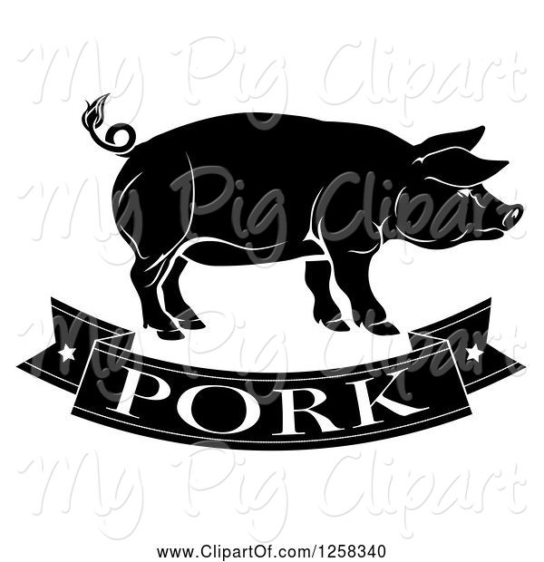 Swine Clipart of Black and White Pork Banner and Pig