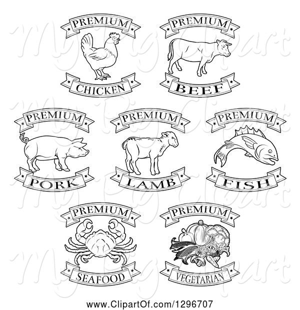 Swine Clipart of Black and White Premium Chicken, Beef, Pork, Lamb, Fish, Seafood and Vegetarian Food Labels