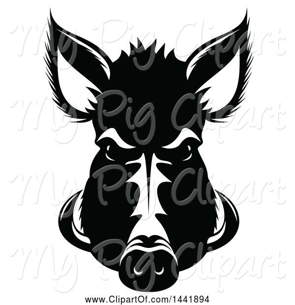 Swine Clipart of Black and White Razorback Boar Head