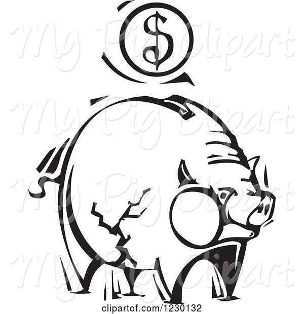 Swine Clipart of Black and White Woodcut Piggy Bank with a Dollar Coin