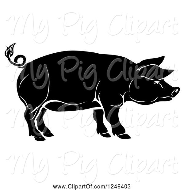 Swine Clipart of Black Pig in Profile