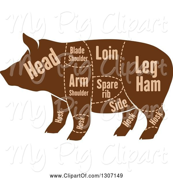 Swine Clipart of Brown Silhouetted Pig with Labeled Pork Cuts 2