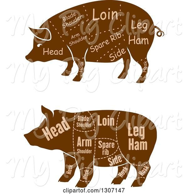 Swine Clipart of Brown Silhouetted Pigs with Labeled Pork Cuts