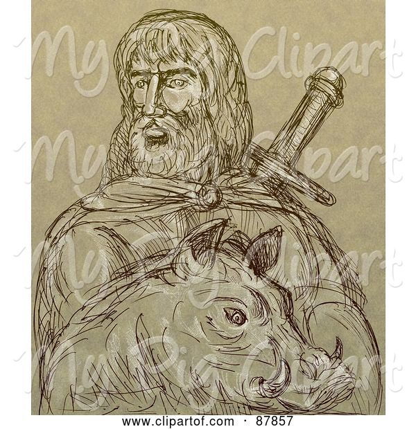Swine Clipart of Brown Sketch of Freyr and a Boar