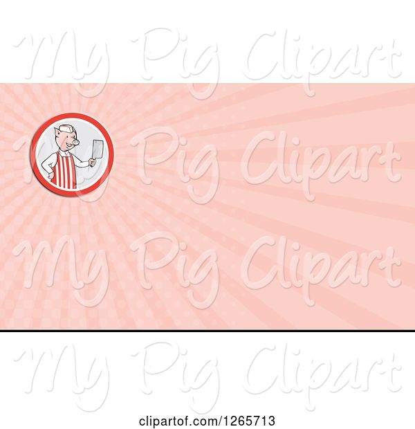 Swine Clipart of Butcher Pig Holding a Cleaver and Pink Ray Business Card Design