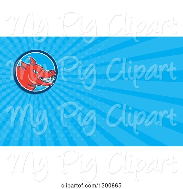 Swine Clipart of Cartoon Angry Red Pig and Blue Rays Background or Business Card Design