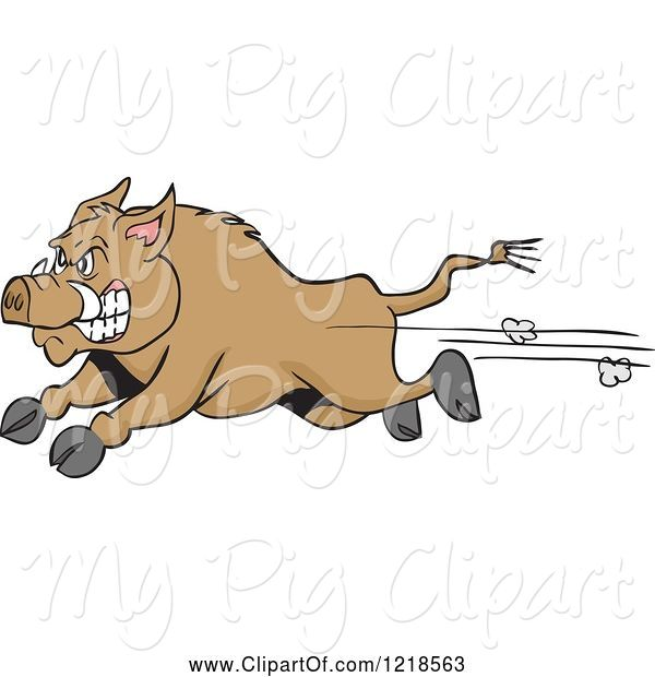 Swine Clipart of Cartoon Angry Wild Pig Boar Running