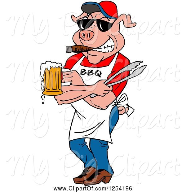 Swine Clipart of Cartoon Bbq Pig Chef Holding Tongs, Wearing Sunglasses, Smoking a Cigar and Holding a Beer