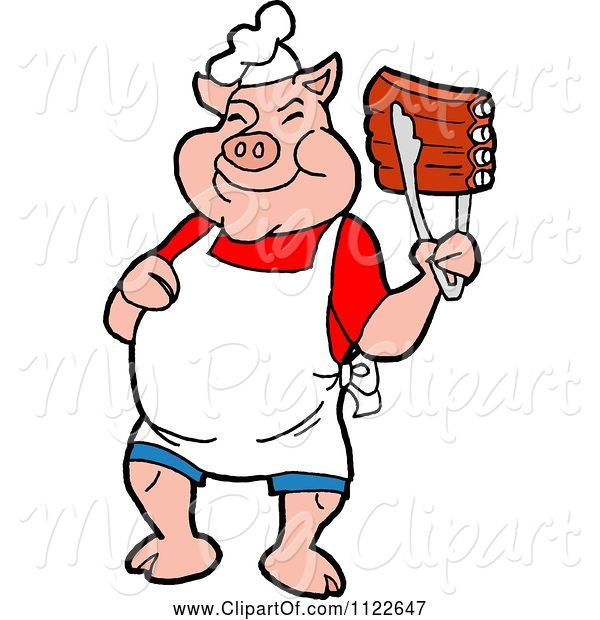 Swine Clipart of Cartoon BBQ Pig Chef Holding up Ribs with Tongs
