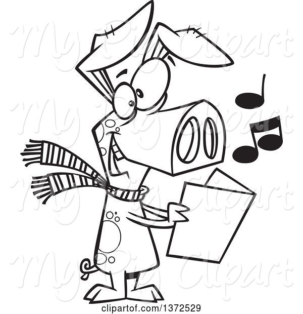 Swine Clipart of Cartoon Black and White Festive Pig Singing Christmas Carols