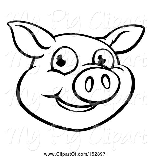 Swine Clipart of Cartoon Black and White Happy Pig Face