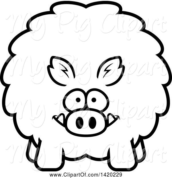 Swine Clipart of Cartoon Black and White Lineart Chubby Boar