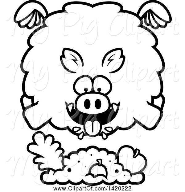 Swine Clipart of Cartoon Black and White Lineart Chubby Boar Flying and Eating