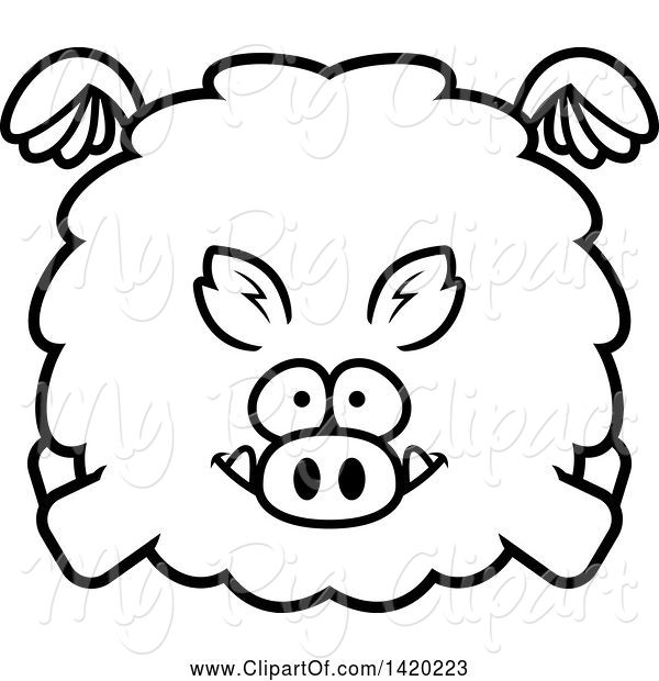 Swine Clipart of Cartoon Black and White Lineart Chubby Boar Flying