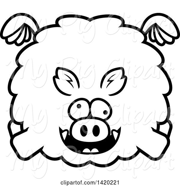 Swine Clipart of Cartoon Black and White Lineart Chubby Crazy Boar Flying
