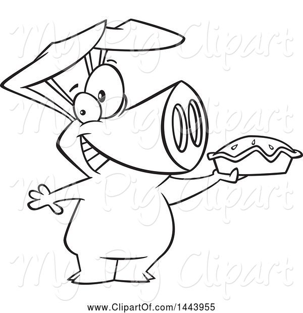 Swine Clipart of Cartoon Black and White Lineart Happy Pig Holding up a Pie