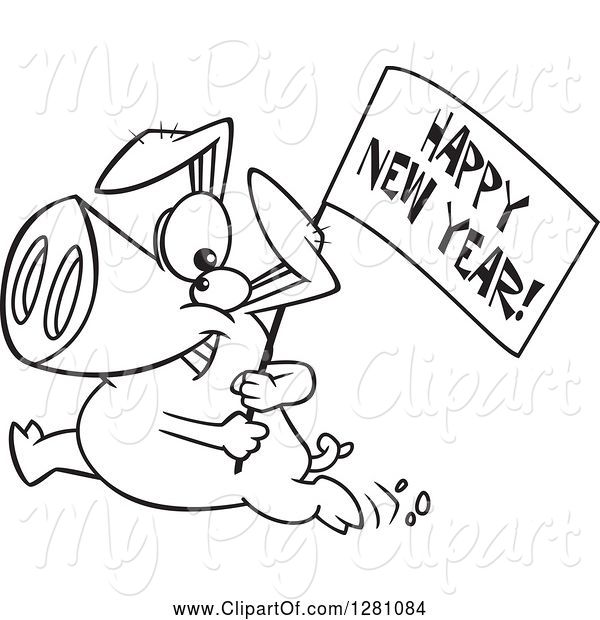 Swine Clipart of Cartoon Black and White Pig Running with a Happy New Year Sign