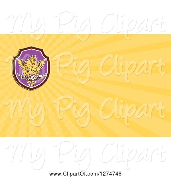 Swine Clipart of Cartoon Boar and Yellow Rays Business Card Design