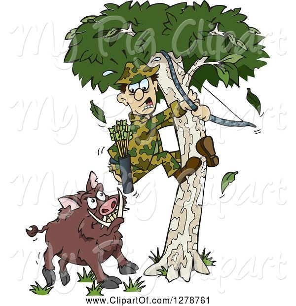 Swine Clipart of Cartoon Boar Chasing a Scared Male Hunter into a Tree