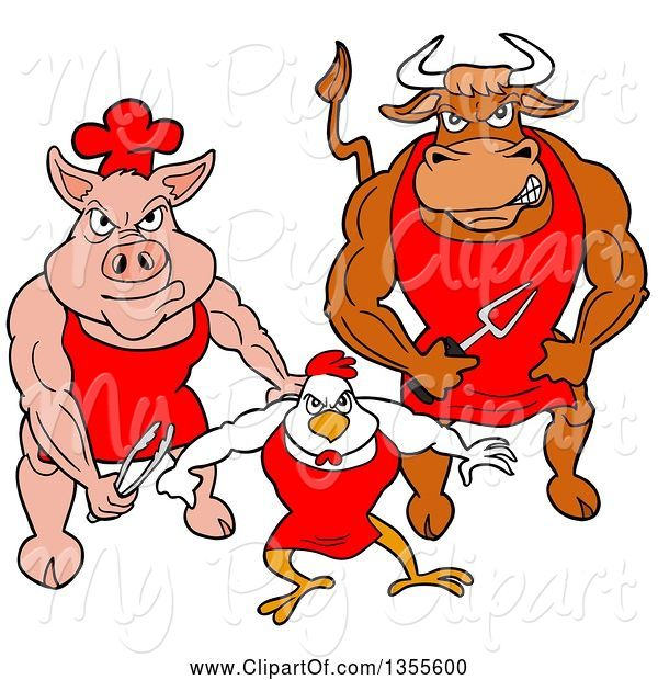 Swine Clipart of Cartoon Buff Bbq Chef Bull, Chicken and Pig Flexing Their Muscles