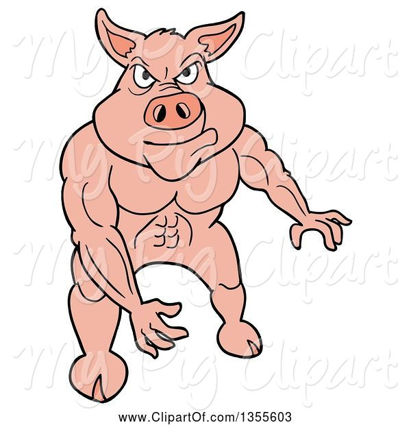 Swine Clipart of Cartoon Buff Pig Flexing His Muscles