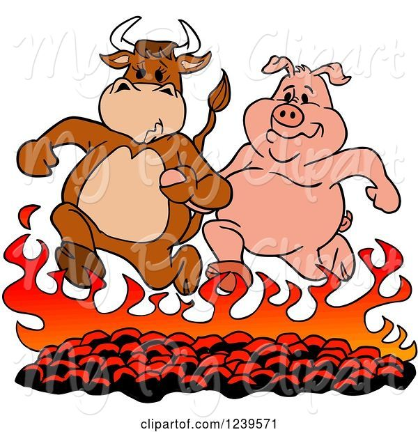 Swine Clipart of Cartoon Bull and Pig Running over Hot Bbq Coals