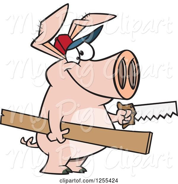 Swine Clipart of Cartoon Carpenter Pig Holding Lumber and a Saw