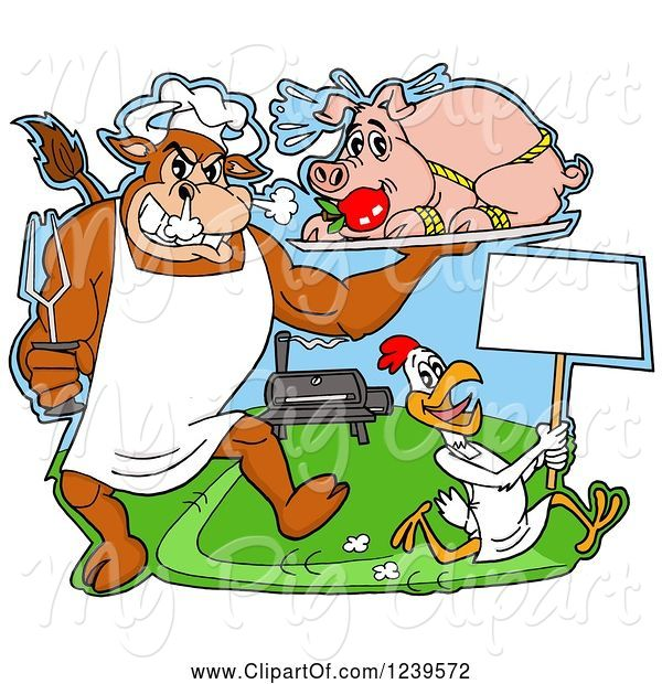 Swine Clipart of Cartoon Chef Bull Holding a Stuffed Pig on a Platter over a Chicken with a Sign by a Bbq Grill