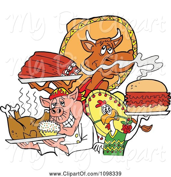 Swine Clipart of Cartoon Chef Chicken Pig and Cow Holding Ribs Roasted Bird and Pulled Pork Burger