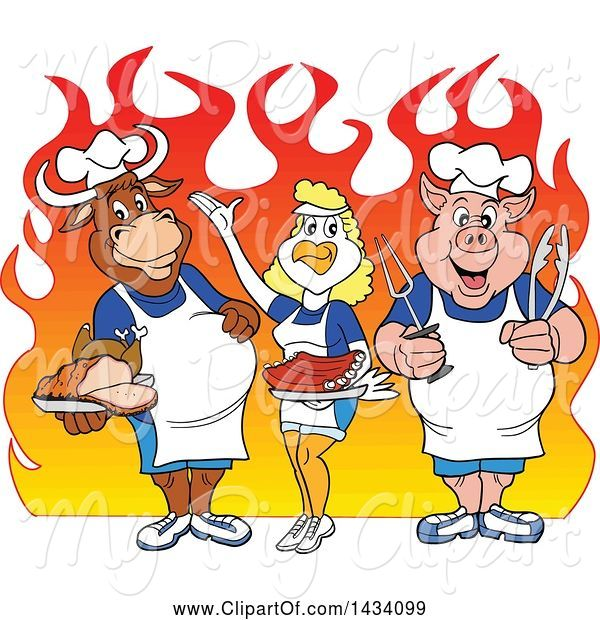 Swine Clipart of Cartoon Chef Cow, Chicken and Pig with a Roasted Chicken, Brisket and Ribs over Flames
