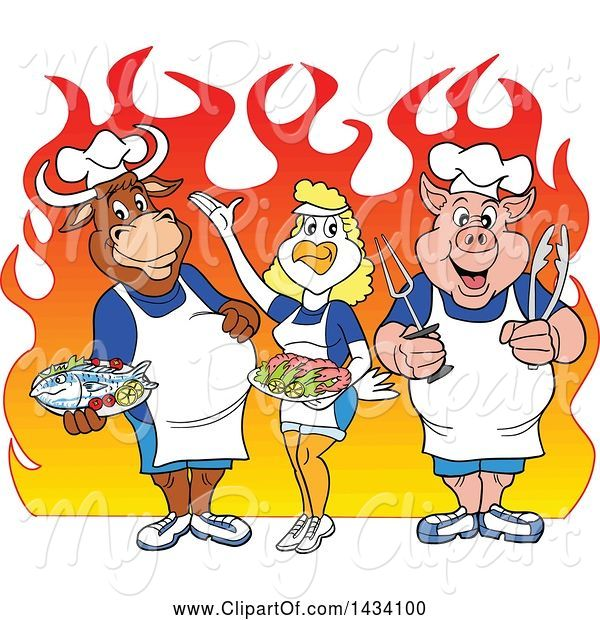 Swine Clipart of Cartoon Chef Cow, Chicken and Pig with Fish and Shrimp over Flames