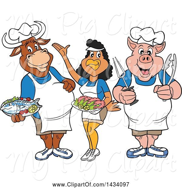 Swine Clipart of Cartoon Chef Cow, Chicken and Pig with Shrimp and Fish