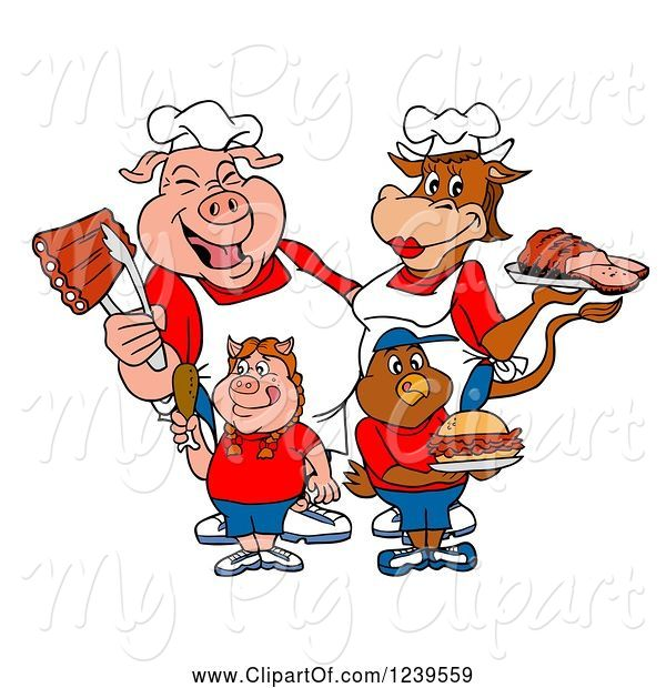 Swine Clipart of Cartoon Chef Pig and Female Cow over a Pig Girl and Chicken Boy with Meats