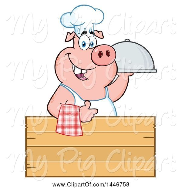 Swine Clipart of Cartoon Chef Pig Giving a Thumb up and Holding a Cloche Platter over a Blank Wood Sign
