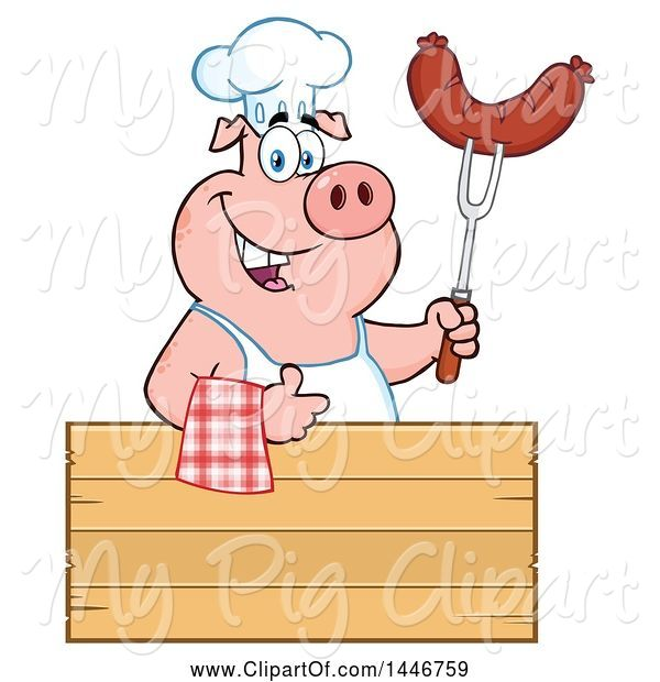 Swine Clipart of Cartoon Chef Pig Giving a Thumb up and Holding a Sausage over a Blank Sign
